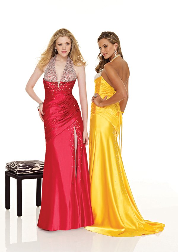 yellow petite wrap prom dress train