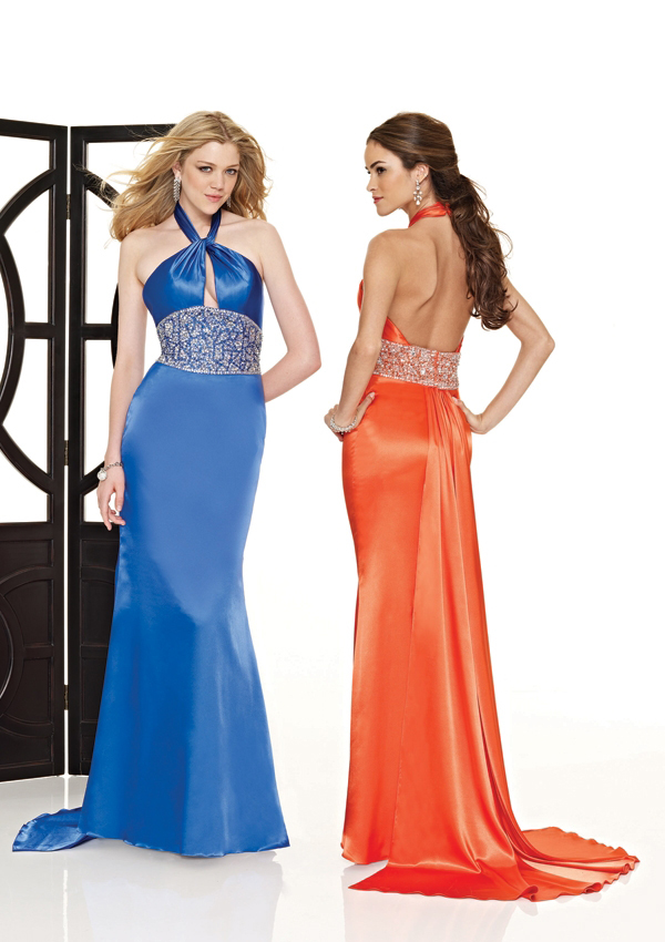 Form fitting halter dress with low back