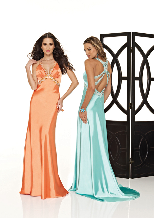 floor length evening gown with cut out back
