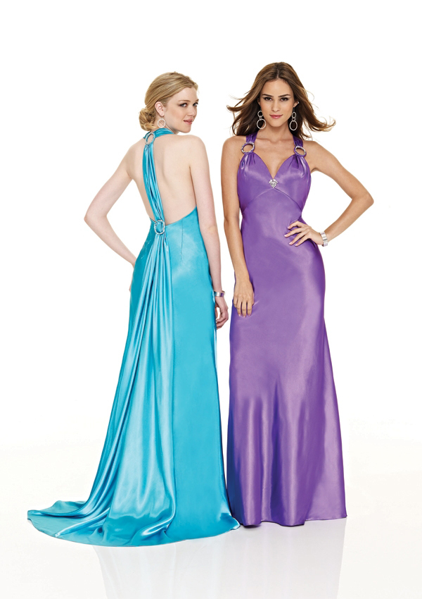 purple racer back prom dress