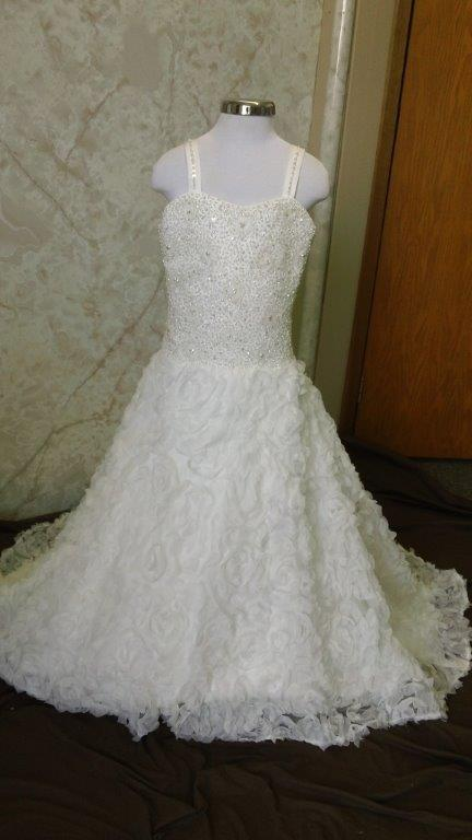 fully beaded bodice and organza 3-D ruffle flower skir