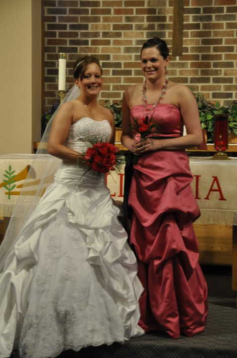 Lovely bride with her maid of honor