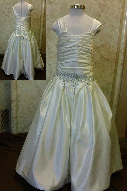 Rhinestone Beaded Flower Girl Wedding dress