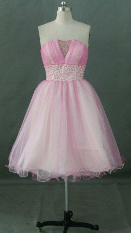 pink baby doll prom dress