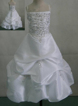 White taffeta miniature bridal gown