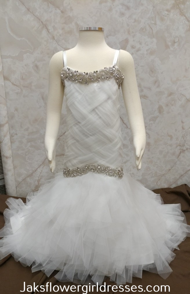 basket weave flower girl dress