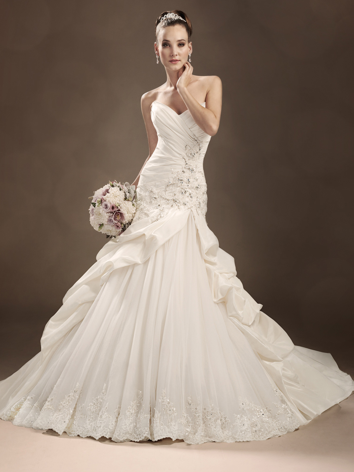 split skirt wedding gown
