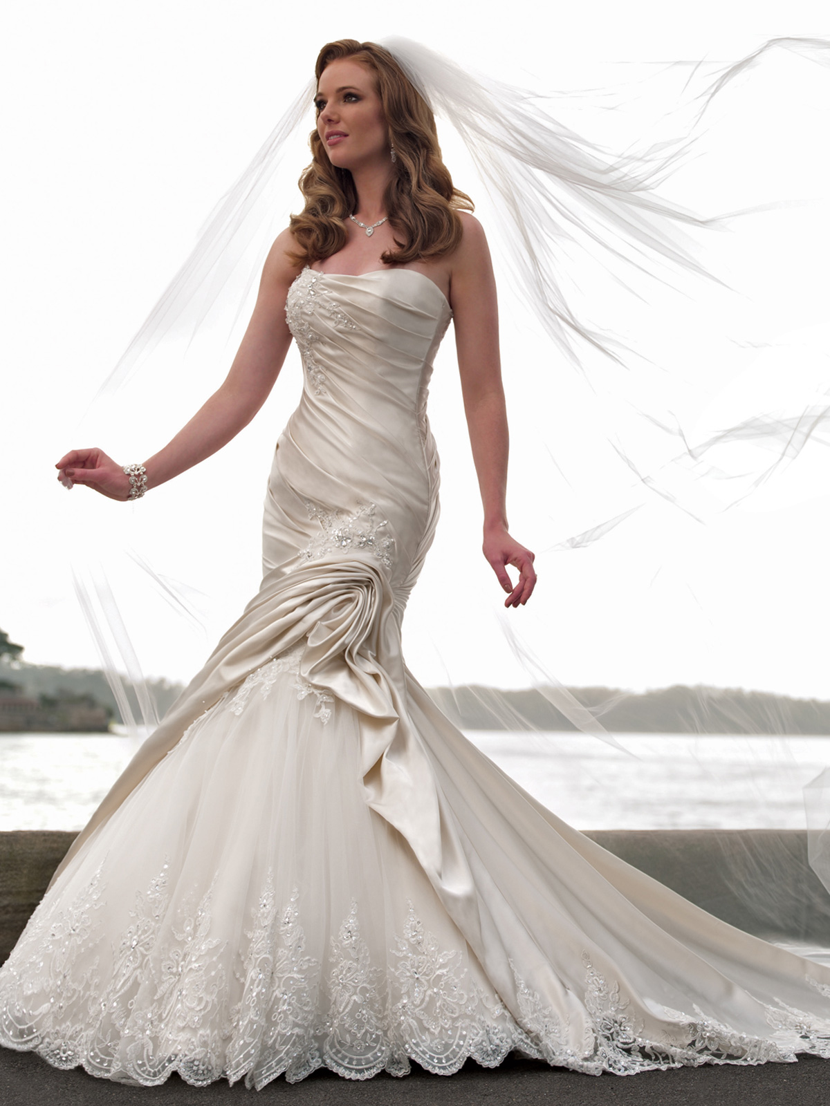 strapless mermaid wedding dress with lace