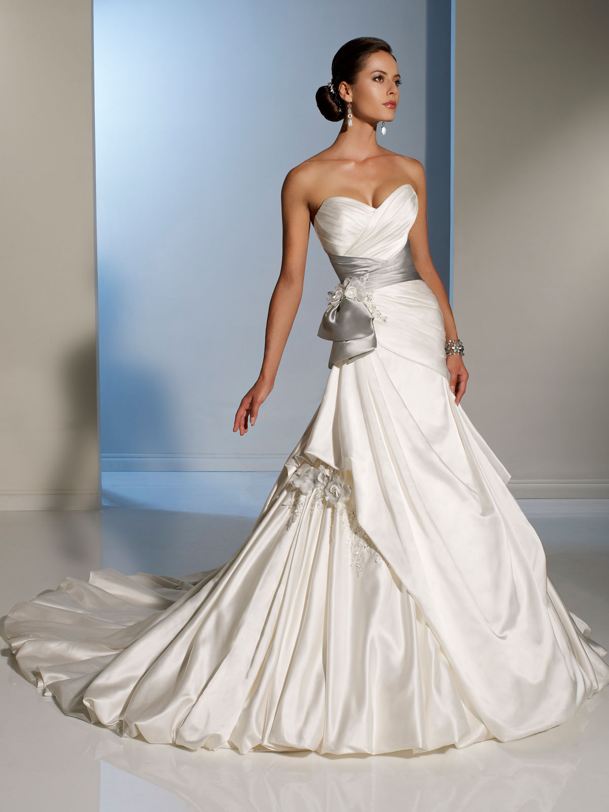 Side Draped Wedding Dress with silver sash