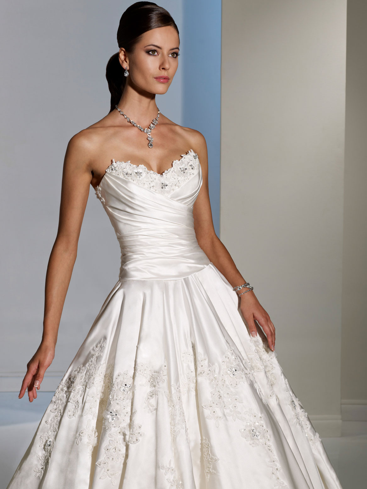 silver and ivory draped bodice wedding dress