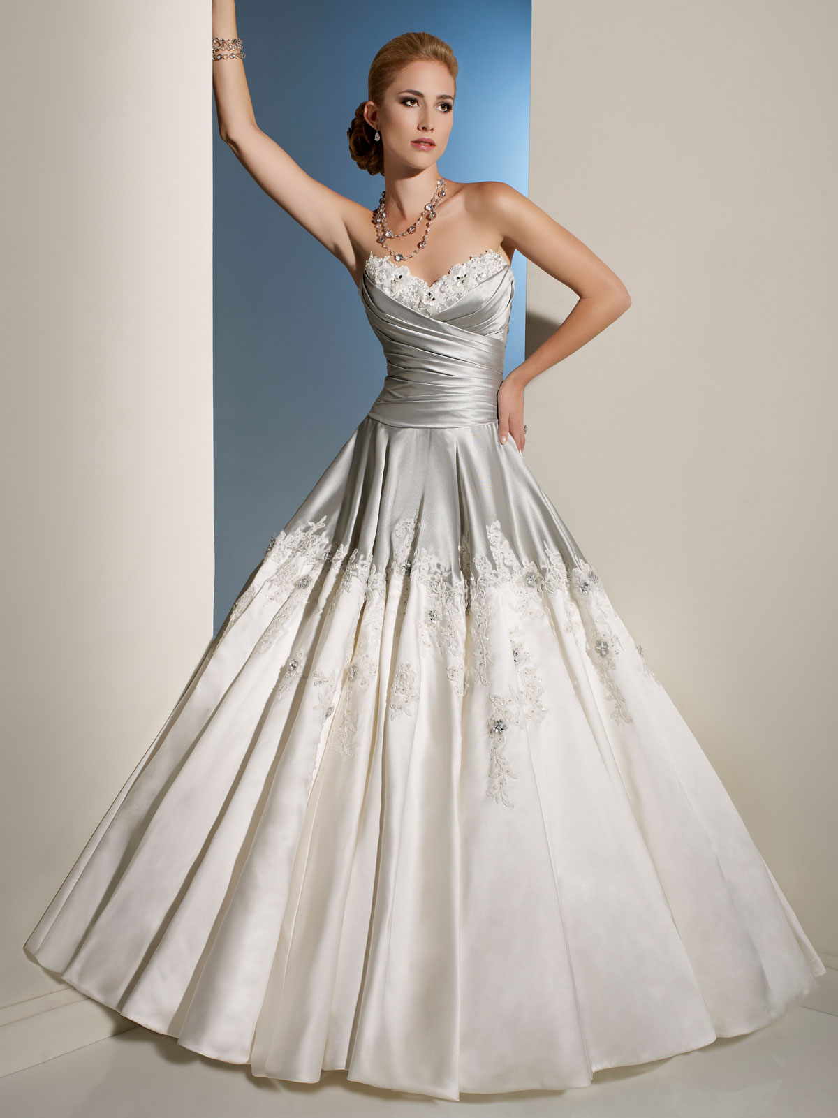 silver and light ivory draped bodice wedding dress