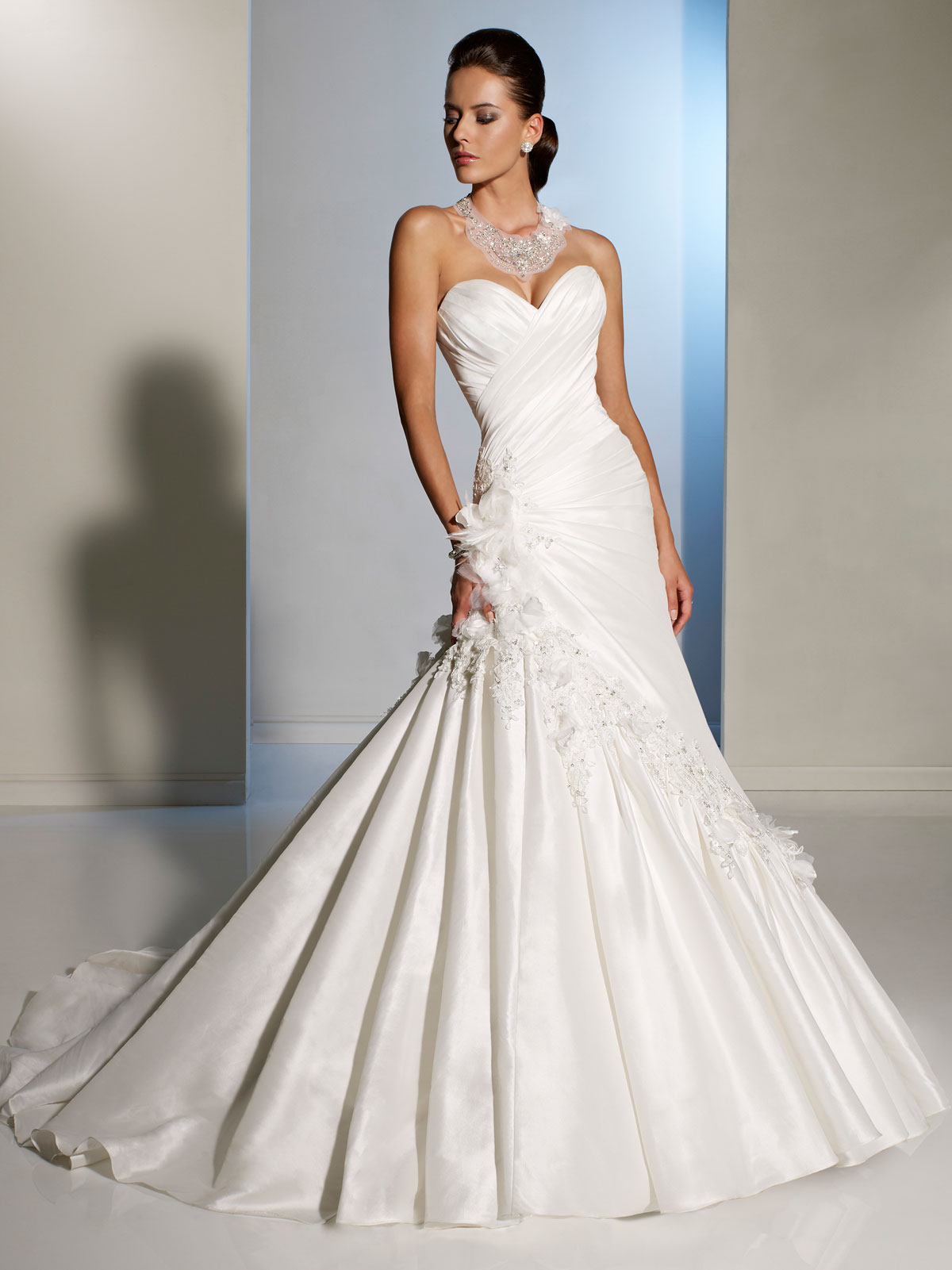 Sweetheart draped wedding gown