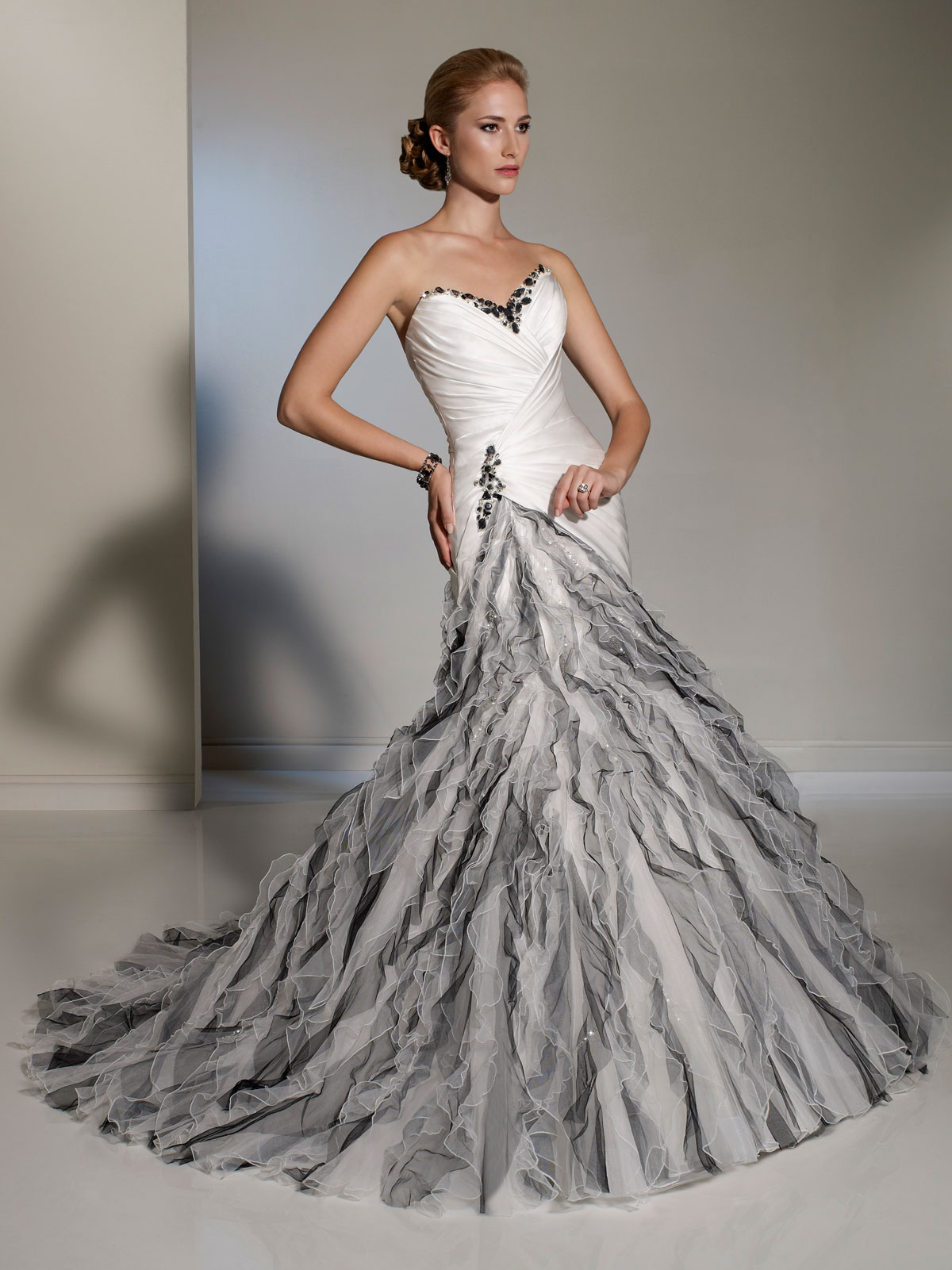 Grey and white wedding dresses