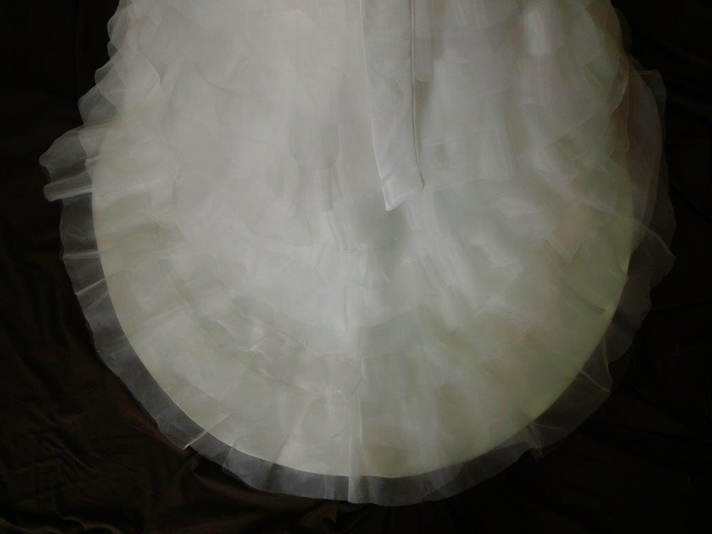 tiered ruffle flower girl dress with train