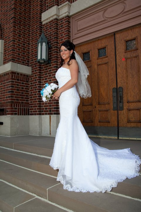 Victoria in mermaid wedding gown