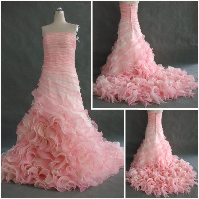 Pink ruffle quinceanera dress