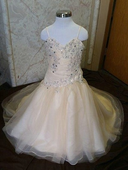 Infant fit and flare tulle wedding dress with lace for 12 month dresses for wedding