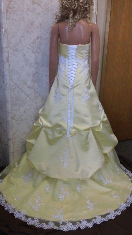 yellow and white wedding gown