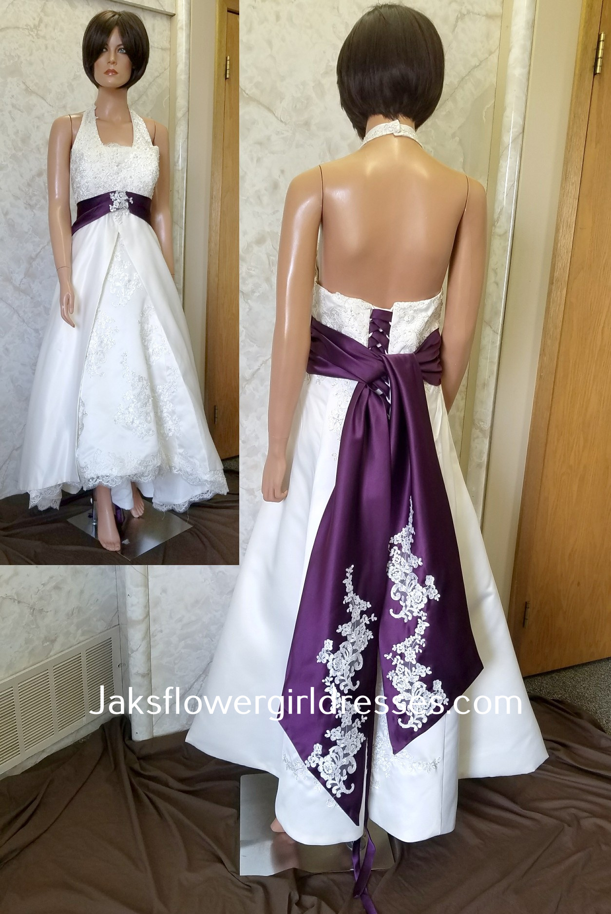 wedding dresses with purple accents