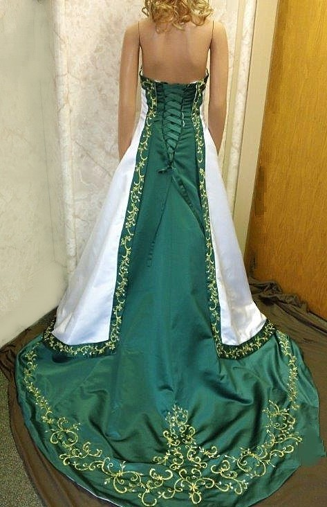 white and emerald green wedding gown