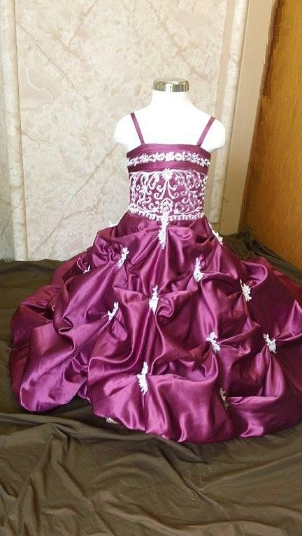 fuschia/white pageant ball gown