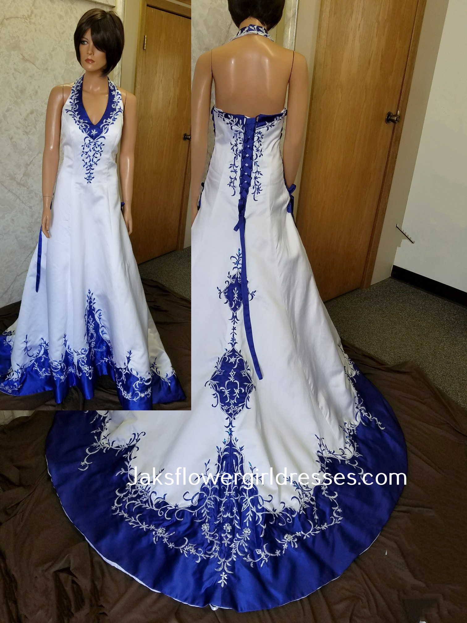 white wedding dress with royal blue