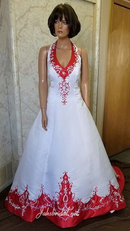 white wedding gown with red trim