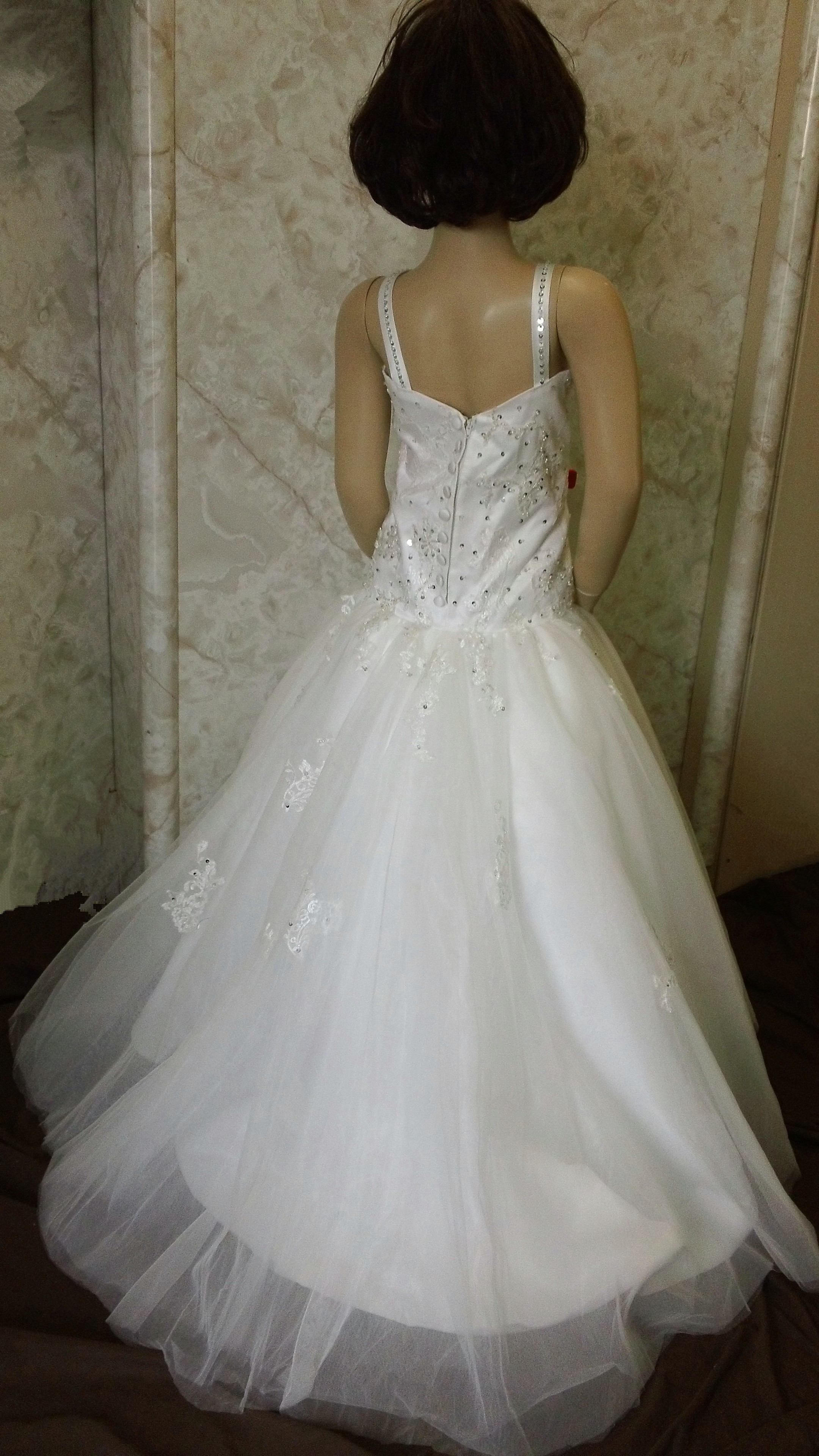 Miniature wedding gown with train