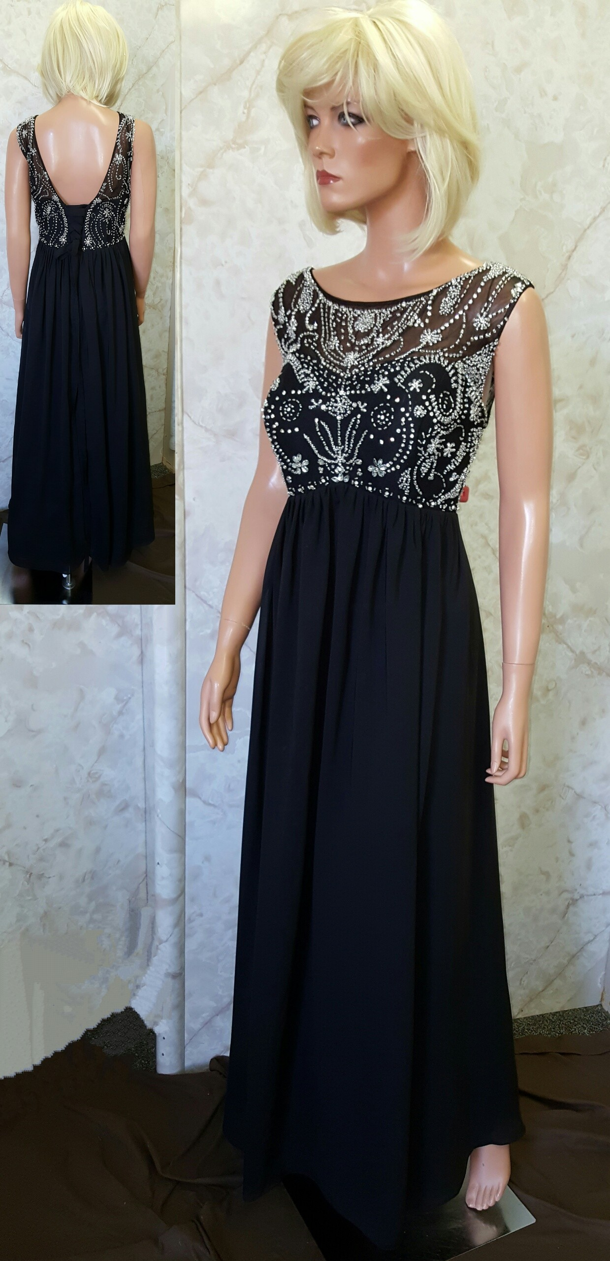 black beaded pageant dress