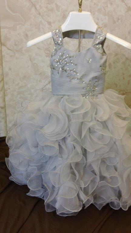 silver infant wedding dress