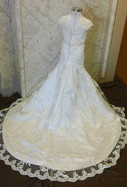 flower girl dress with lace train