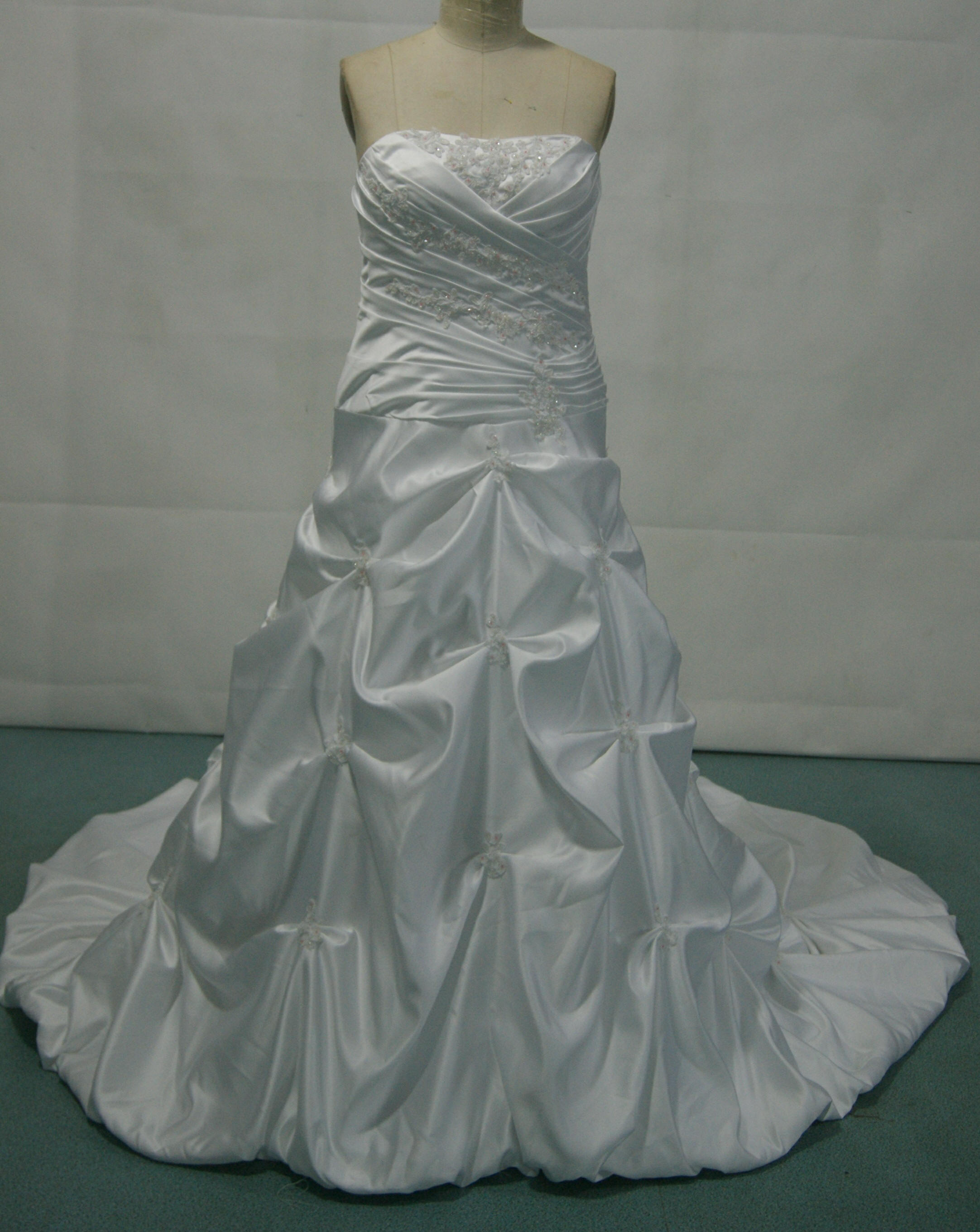 strapless ruched wedding gown