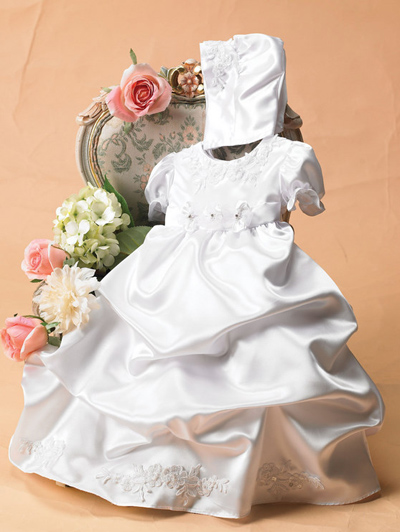 White Baptism Christening Pick Up Dress Gown Bonnet