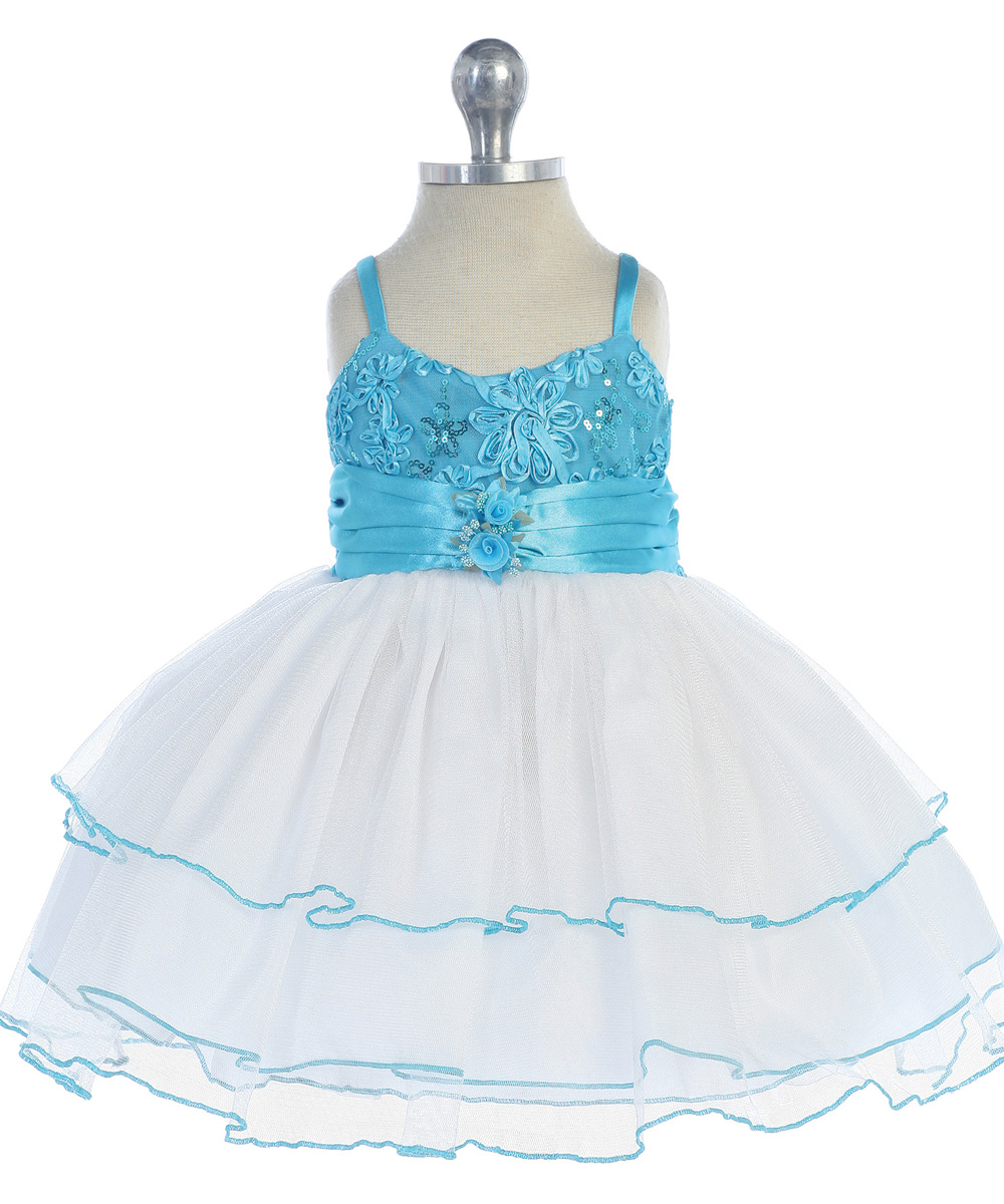 white and turquoise baby dress