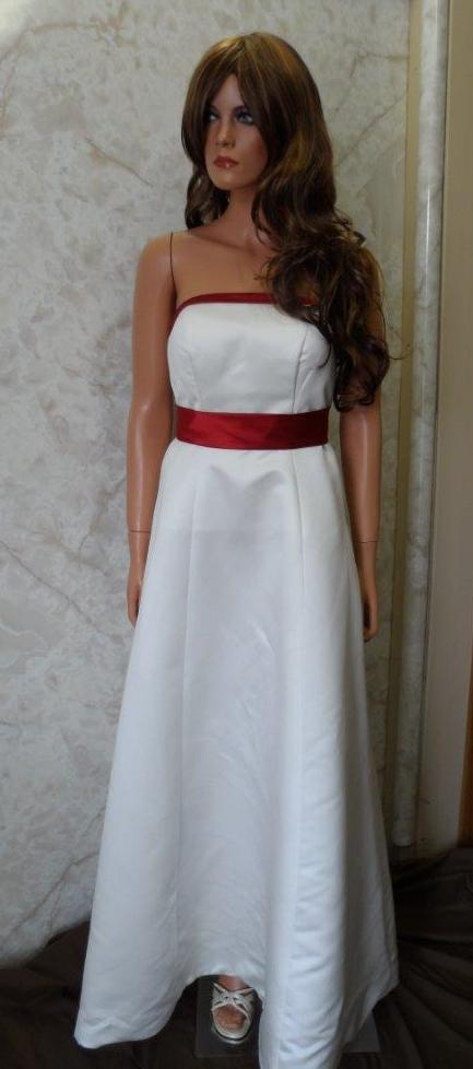 Long ivory bridesmaid dress with apple red sash