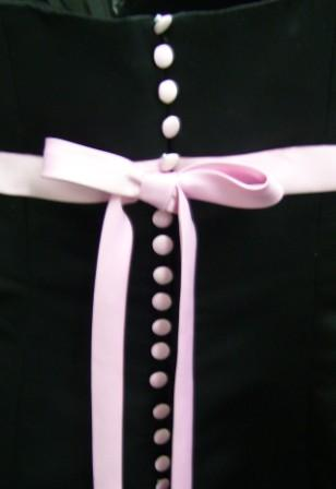 strapless black-pink dress with covered buttons down the back