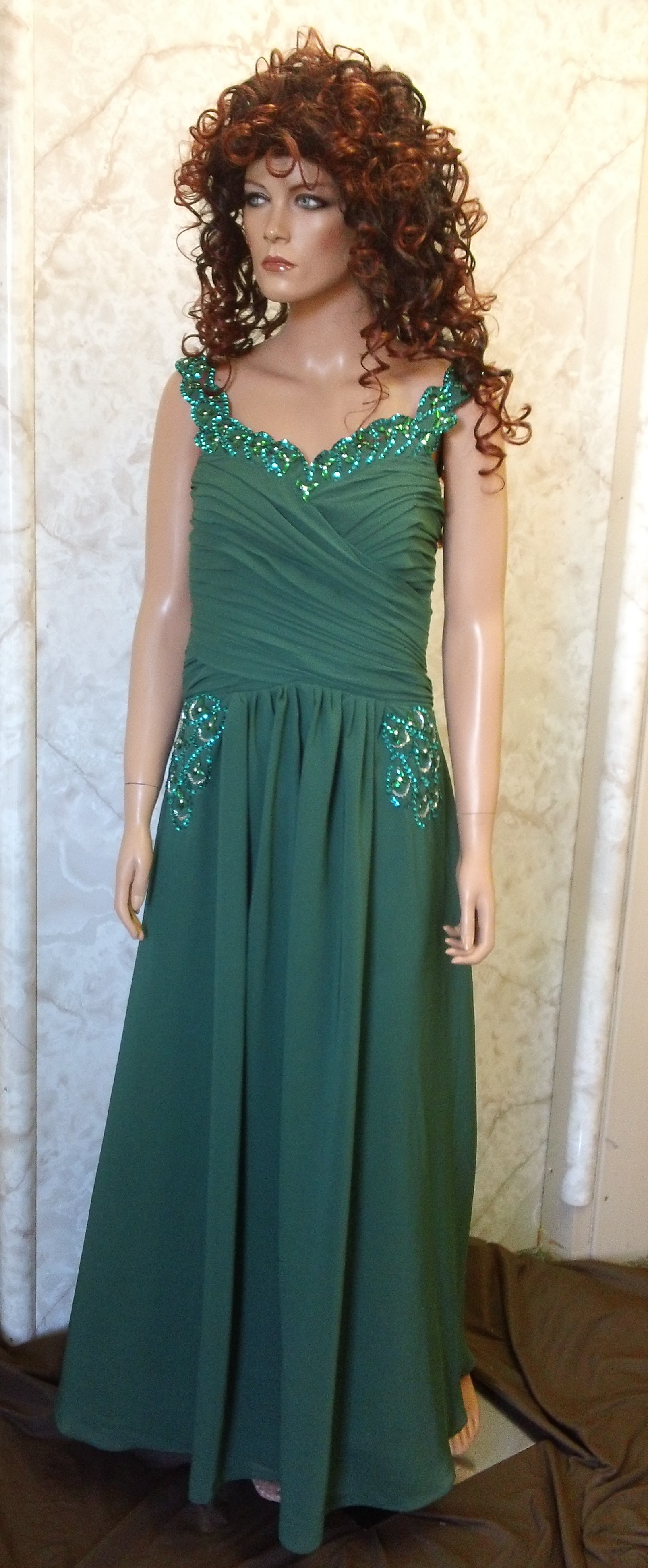 Hunter green chiffon bridesmaid dress
