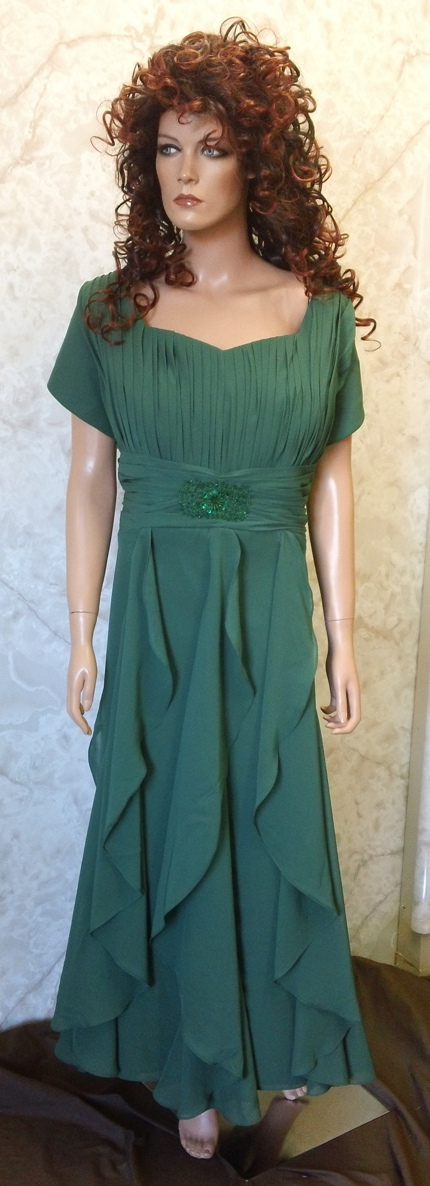 hunter green vertical ruffled bridesmaid dress