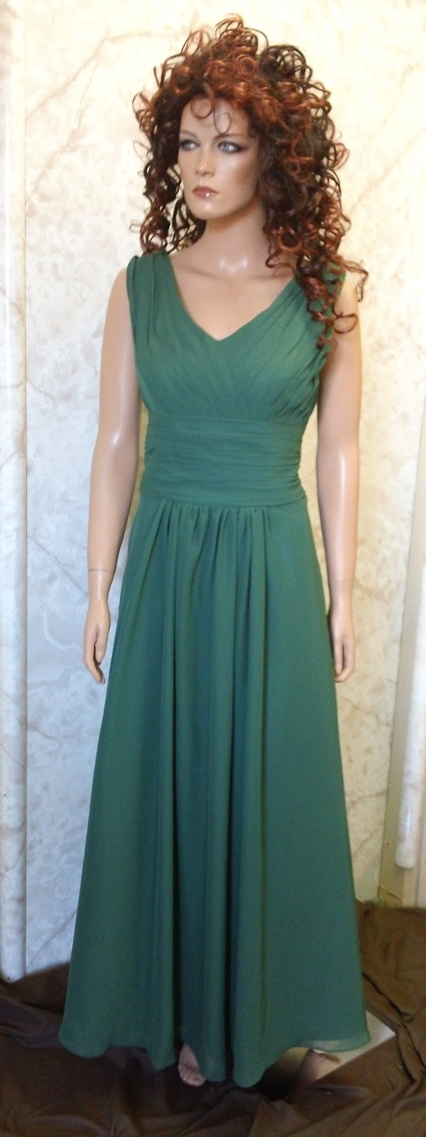 hunter green pleated bodice bridesmaid dress