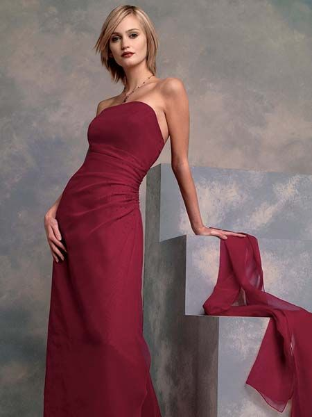 Apple red A-line bridesmaid dress