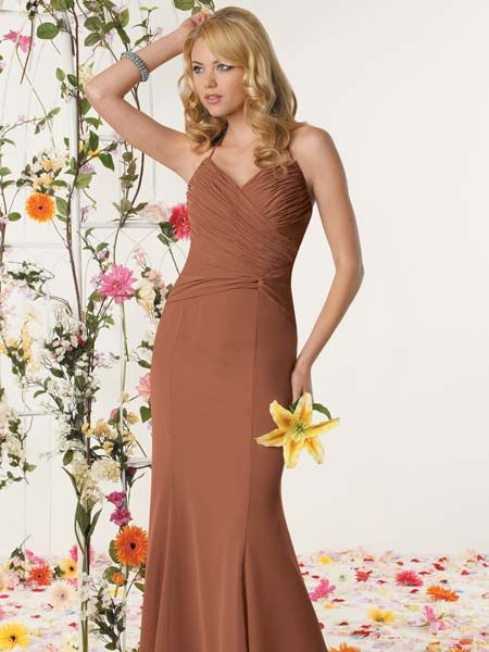 long ruched bridesmaid dress