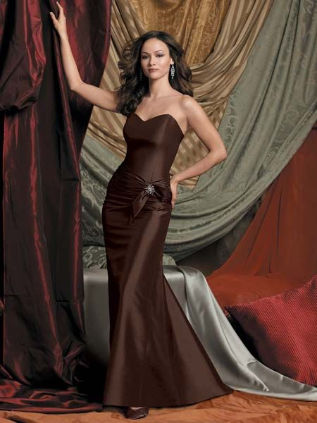 Rich Brown Taffeta strapless dress