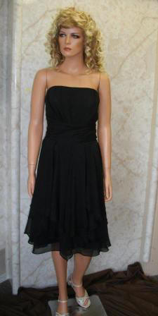 short black chiffon bridesmaid dress