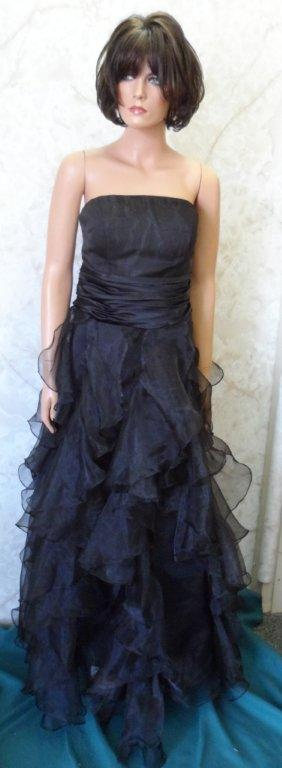 Strapless black chiffon layered dress with red lace up back