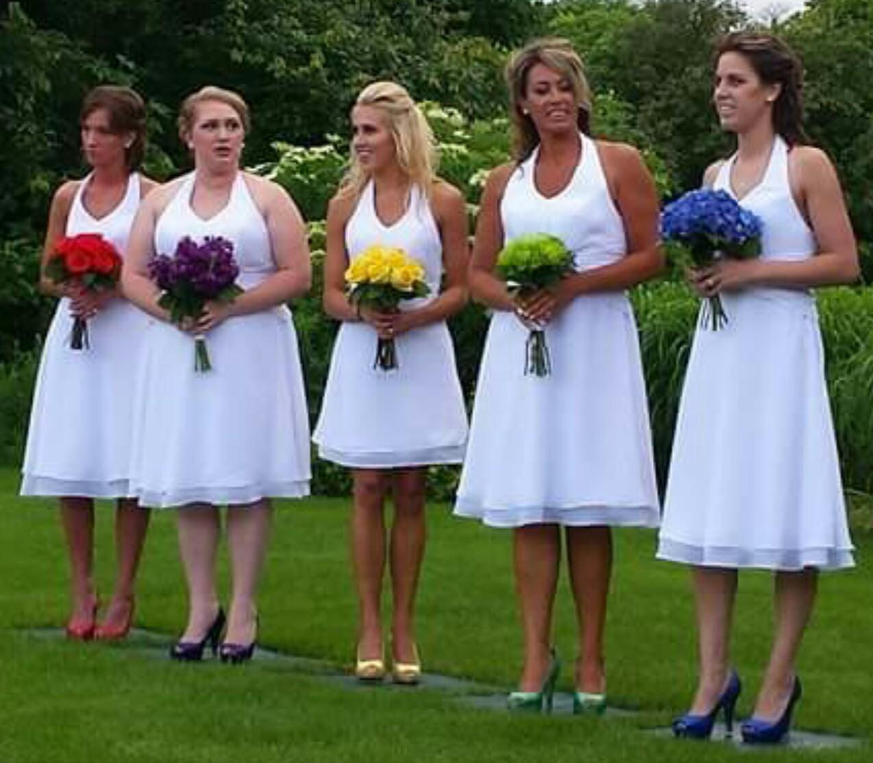 short halter bridesmaid dresses