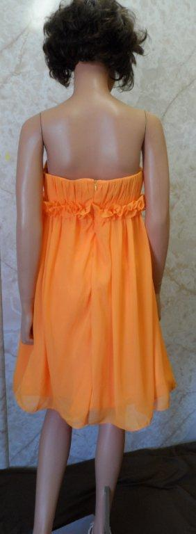 short orange chiffon bridesmaid dress