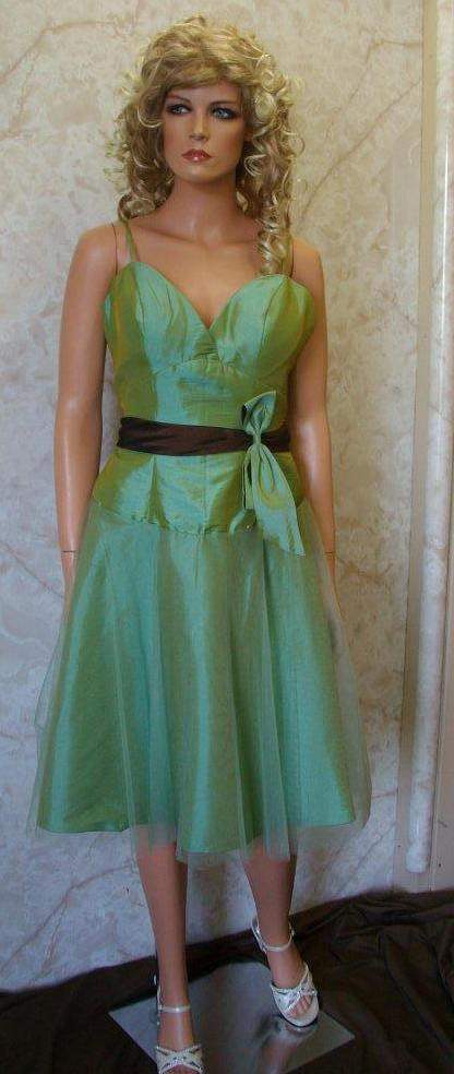 green and brown short bridesmaid dress