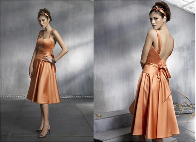 short orange bridesmaid dresses