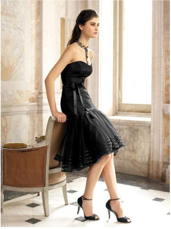 short black strapless bridesmaid dress