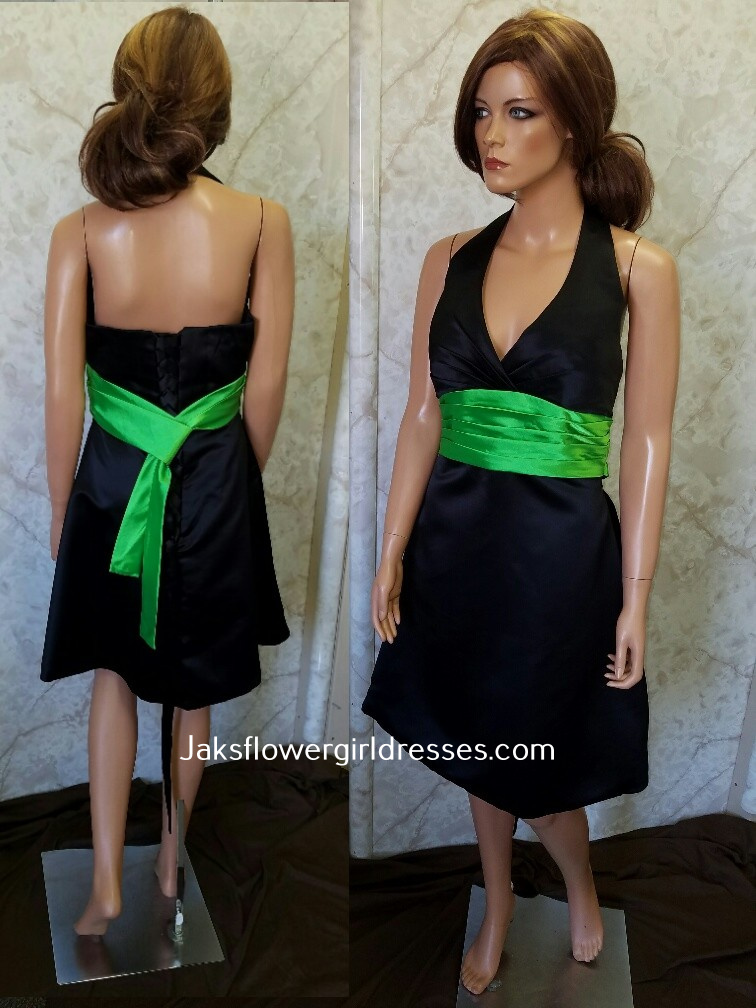 black and lime green dresses